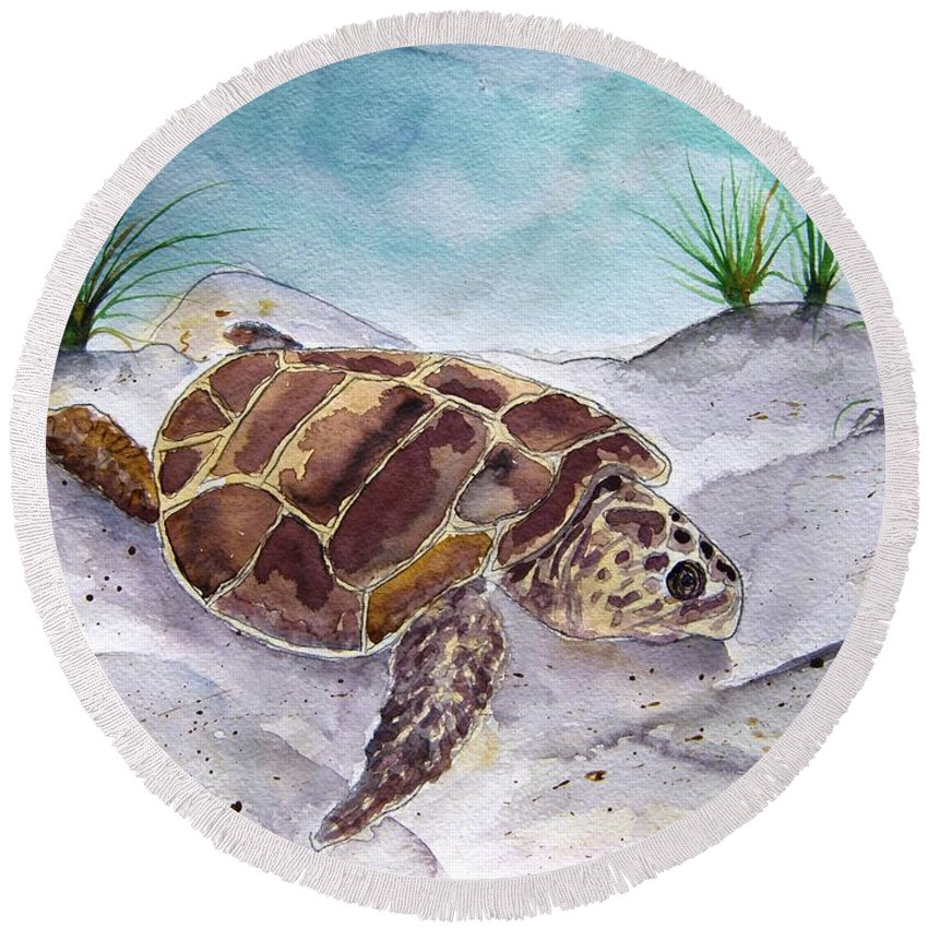 Sea Turtle Round Beach Towel featuring the painting Sea Turtle 2 by Derek Mccrea