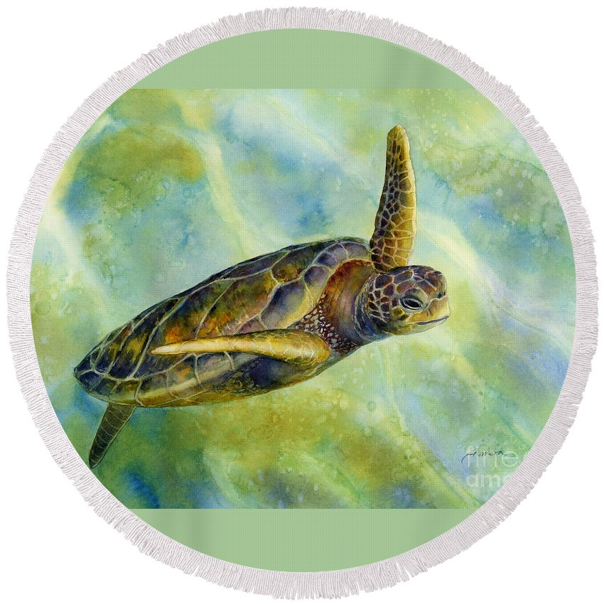 Underwater Round Beach Towel featuring the painting Sea Turtle 2 by Hailey E Herrera