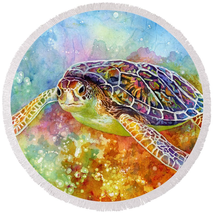 Turtle Round Beach Towel featuring the painting Sea Turtle 3 by Hailey E Herrera