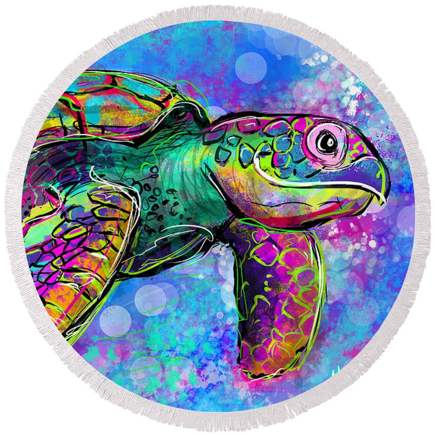 Ocean Round Beach Towel featuring the digital art Sea Turtle by Morgan Richardson