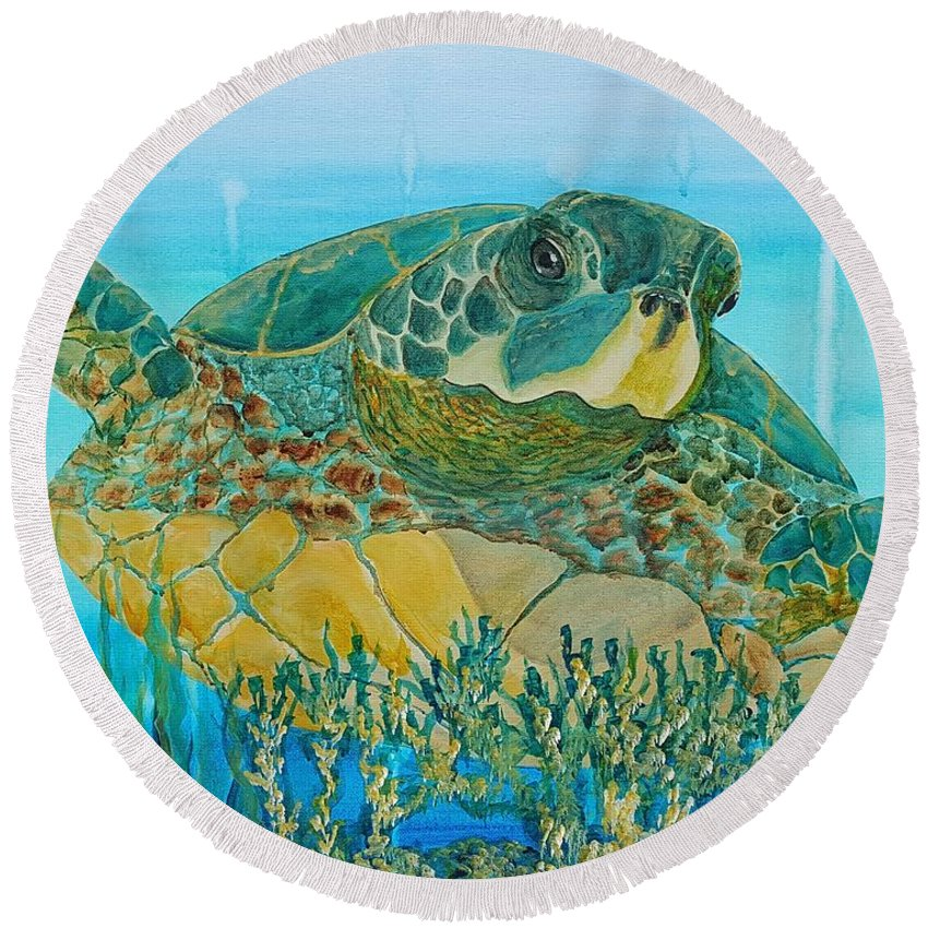 Green Round Beach Towel featuring the painting Sea Turtle by Simone Germain