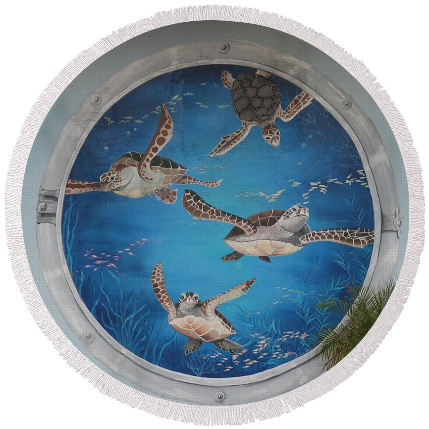 Sea Turtles Round Beach Towel featuring the photograph Sea Turtles by Rob Hans