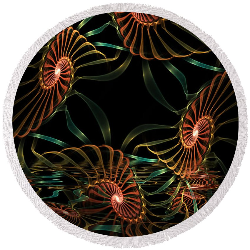 Digital Round Beach Towel featuring the digital art Sea Urchins by Deborah Benoit