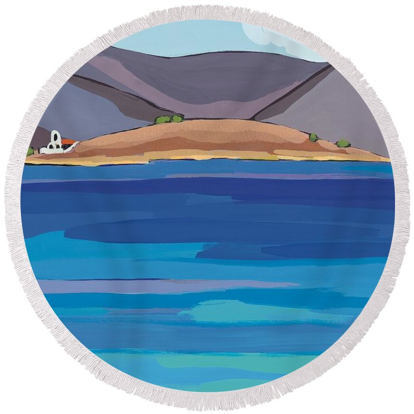 Coastal Round Beach Towel featuring the painting Sea View And Chapel by Sarah Gillard