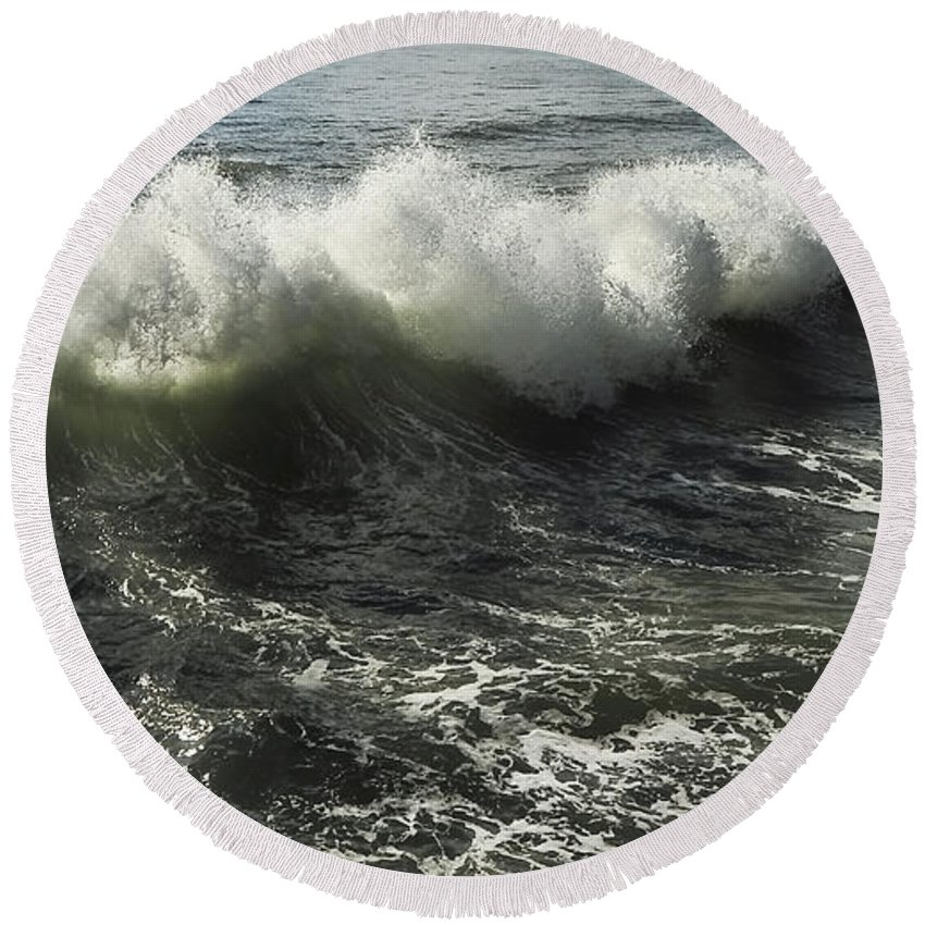 Aqua Round Beach Towel featuring the photograph Sea Waves1 by Svetlana Sewell