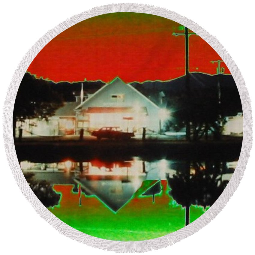 Seabeck Round Beach Towel featuring the photograph Seabeck General Store by Tim Allen