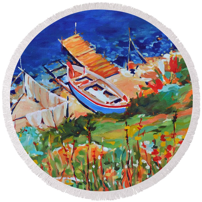 Seascape Round Beach Towel featuring the painting Seacoast by Iliyan Bozhanov