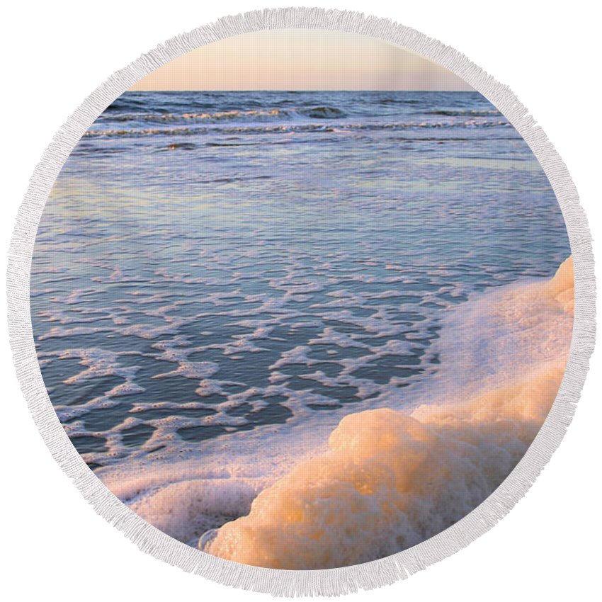 Ocean Round Beach Towel featuring the photograph Seafoam by Kristin Elmquist