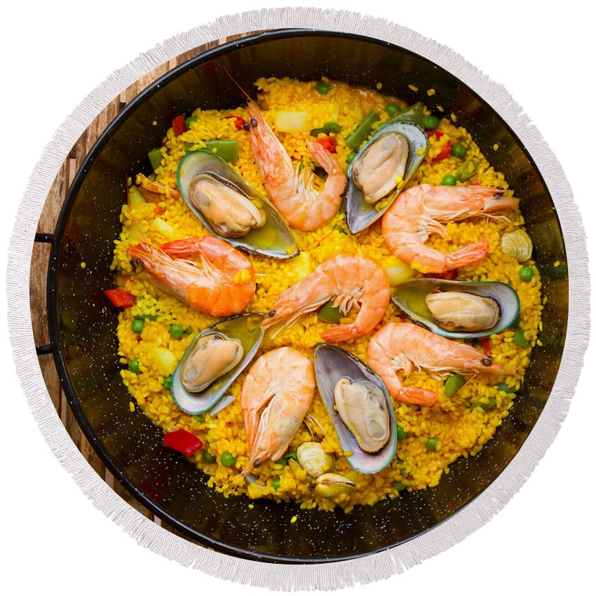 Paella Round Beach Towel featuring the photograph Seafood Paella by Anastasy Yarmolovich