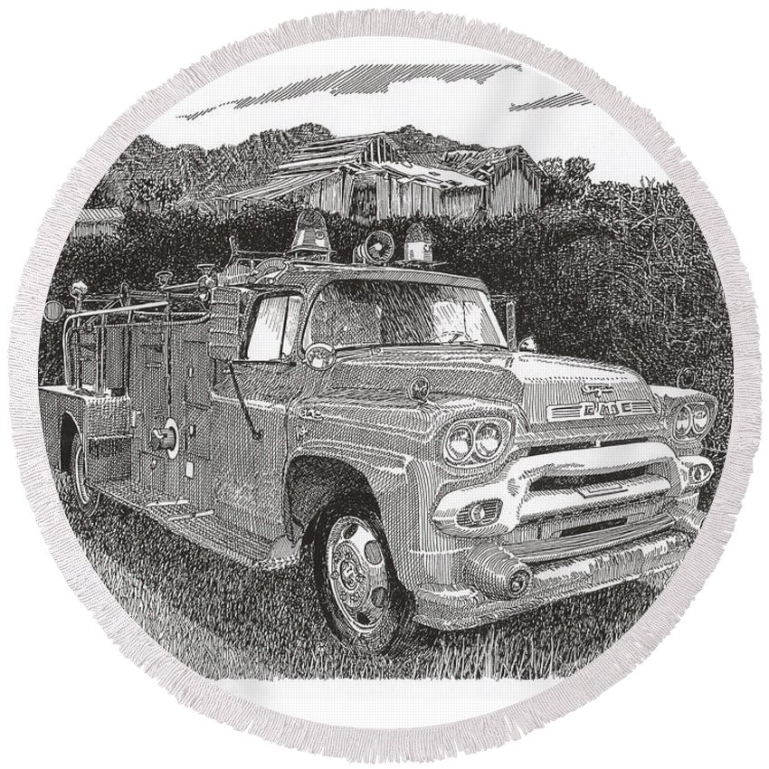 Images Of Seagrave Gmc Firetrucks. Automotive Prints Round Beach Towel featuring the drawing Seagrave Gmc Firetruck by Jack Pumphrey