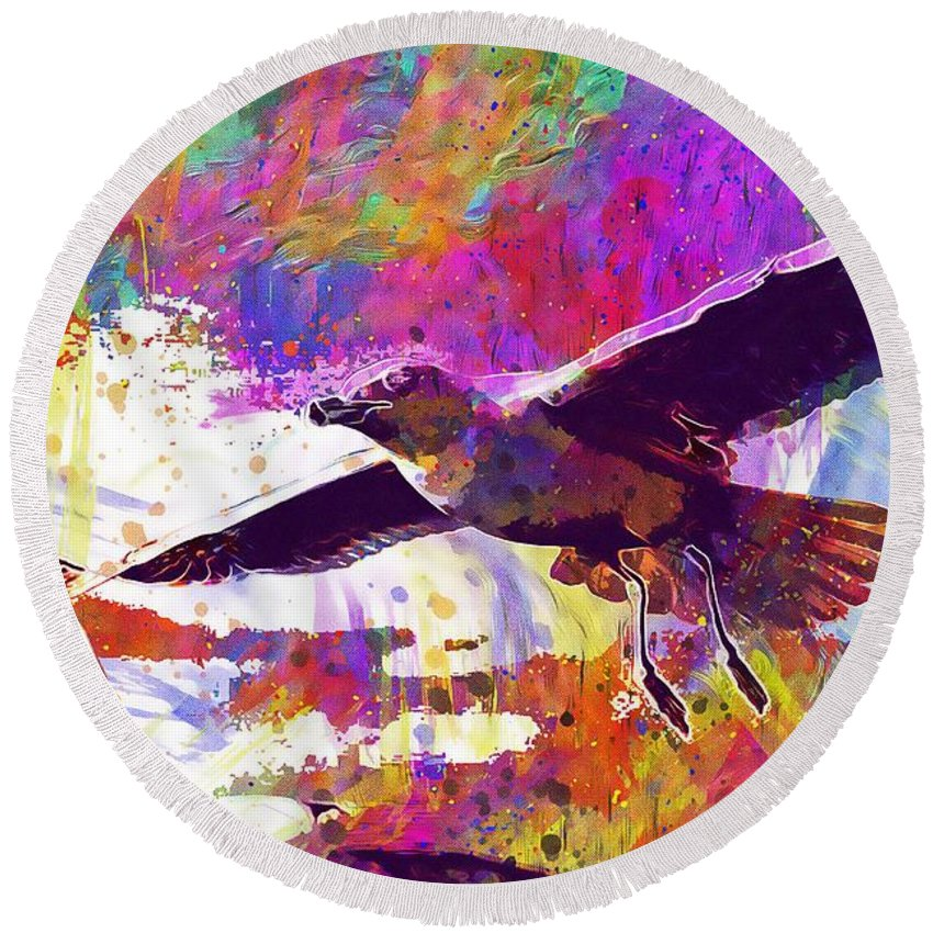 Seagull Round Beach Towel featuring the digital art Seagull Birds Flight Wings Freedom by PixBreak Art