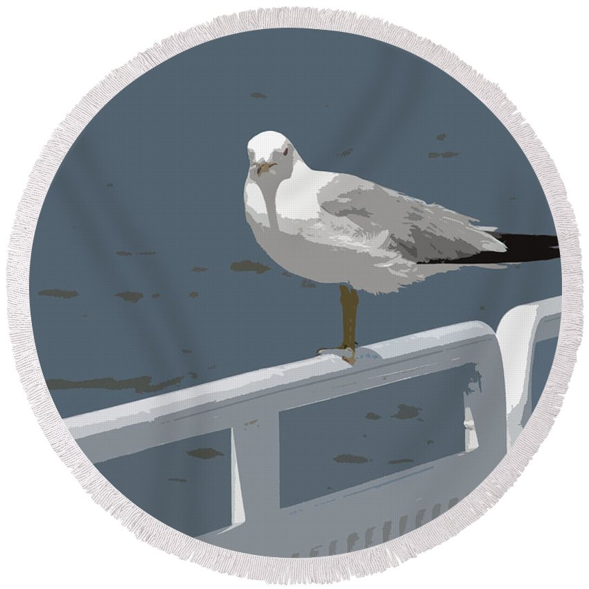 Seagull Round Beach Towel featuring the photograph Seagull On The Rail by Michelle Calkins