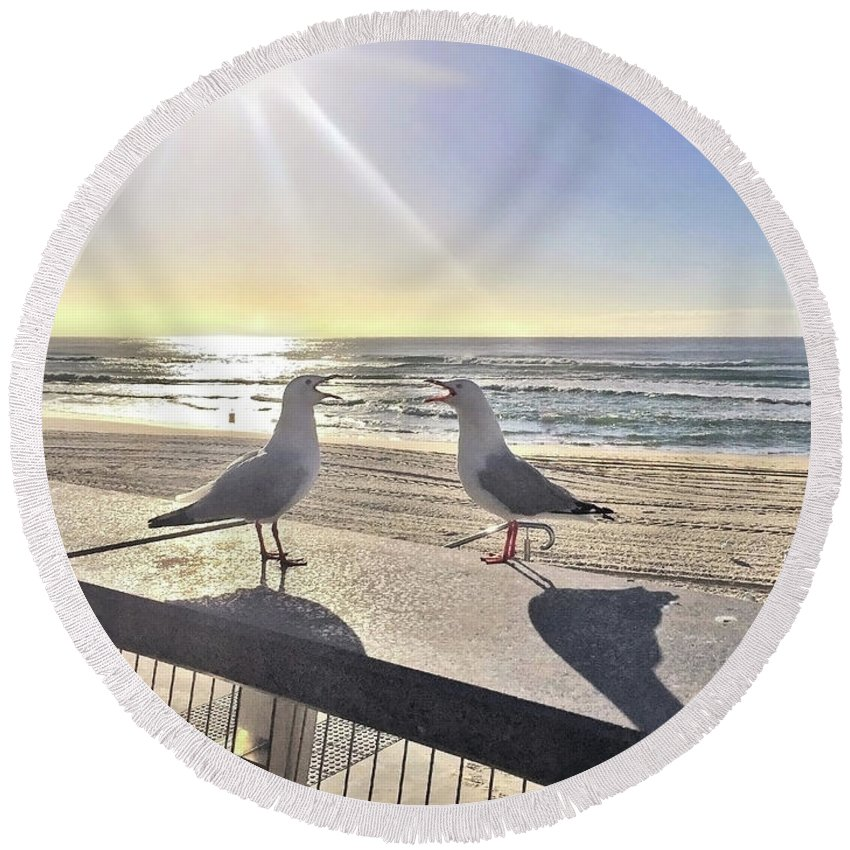 Two Seagulls Round Beach Towel featuring the photograph Seagull Sonnet by Az Jackson