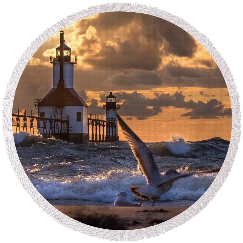 Round Beach Towel featuring the photograph Seagull Takeoff - Tiscornia Beach by Molly Pate