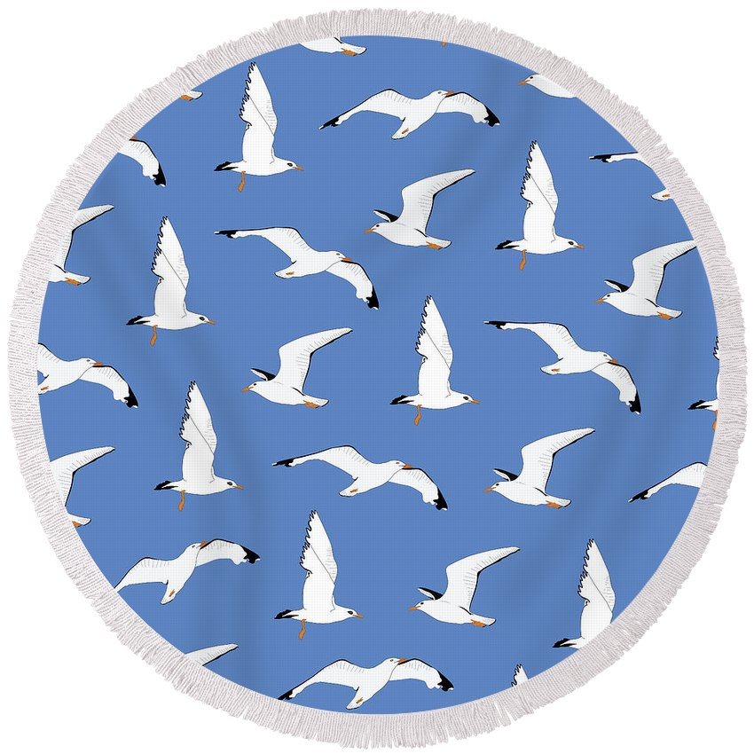 Seagull Round Beach Towels