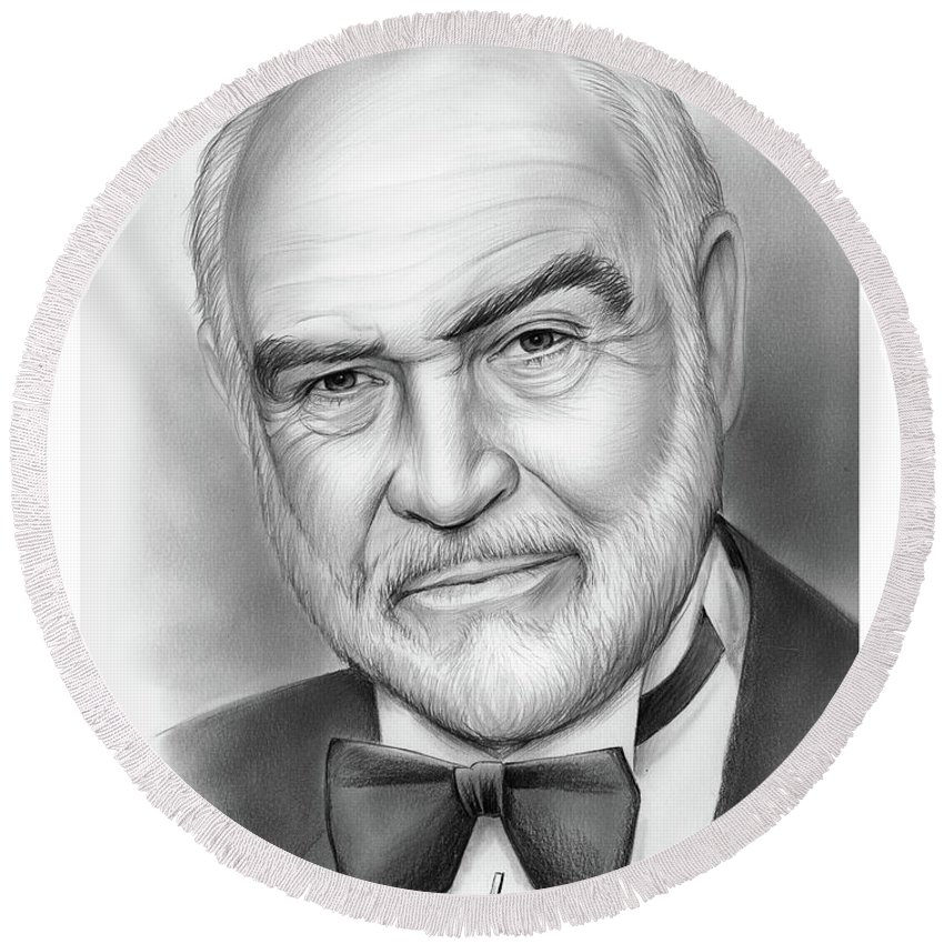 Sean Connery Round Beach Towel featuring the drawing Sean Connery by Greg Joens
