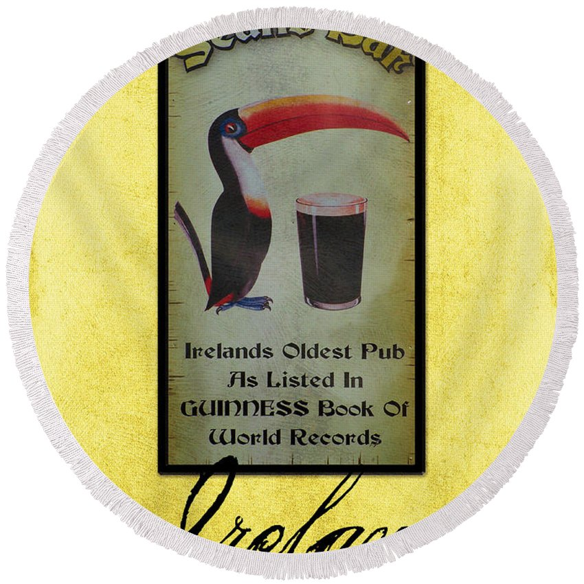 Irish Round Beach Towel featuring the photograph Seans Bar Guinness Pub Sign Athlone Ireland by Teresa Mucha