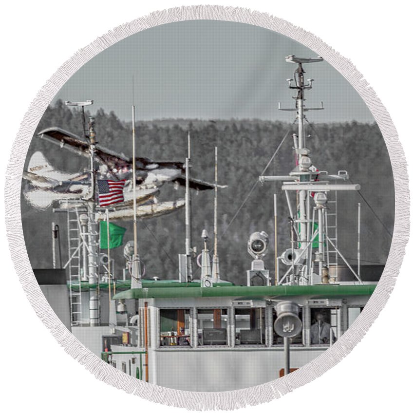 Friday Round Beach Towel featuring the photograph Seaplane Art Of The Craft by Betsy Knapp