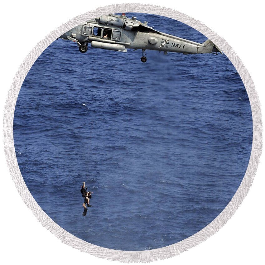 Navy Round Beach Towel featuring the photograph Search And Rescue Swimmers by Stocktrek Images