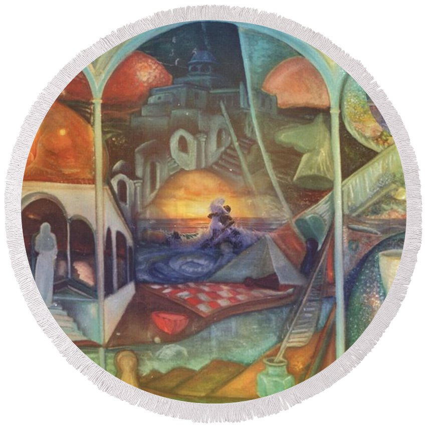 Surrealism Round Beach Towel featuring the digital art Searching For You by Akor Wild