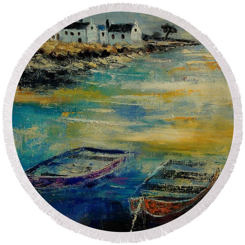 Sea Round Beach Towel featuring the painting Seascape 5614569 by Pol Ledent