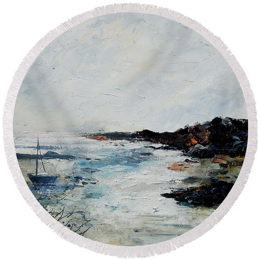 Sea Round Beach Towel featuring the painting Seascape 68 by Pol Ledent