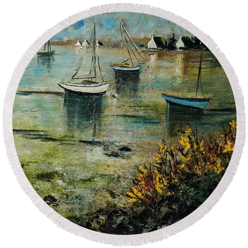 Seascape Round Beach Towel featuring the print Seascape 78 by Pol Ledent
