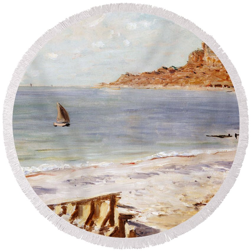 Seascape At Sainte-adresse (oil On Canvas) By Claude Monet (1840-1926) Round Beach Towel featuring the painting Seascape At Sainte Adresse by Claude Monet
