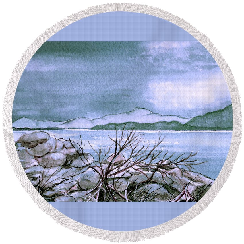 Landscape Round Beach Towel featuring the painting Seascape by Brenda Owen