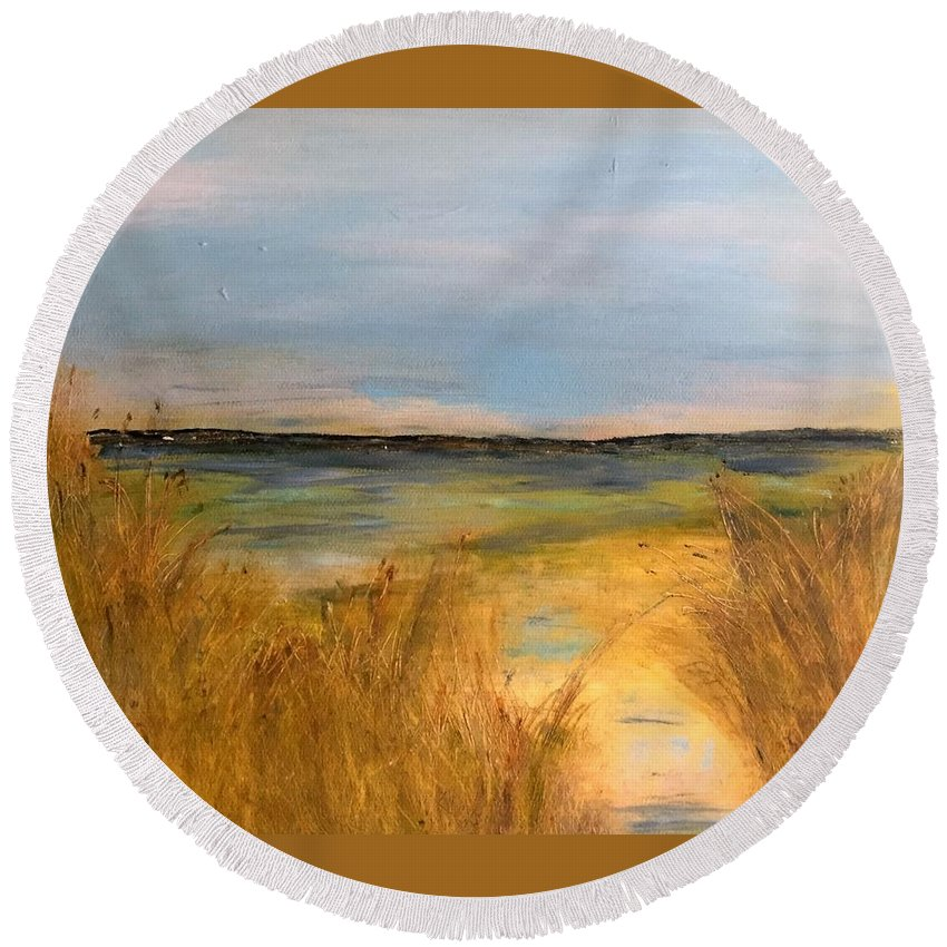 Seascape Round Beach Towel featuring the painting Seascape by Martha Dolan