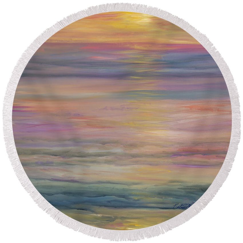 Sea Round Beach Towel featuring the painting Seascape by Nadine Rippelmeyer