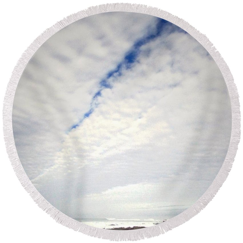 Clouds Round Beach Towel featuring the photograph Seascape Skyscape Two by Joyce Dickens