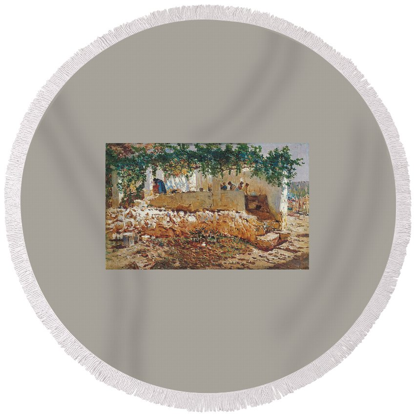 Antonio Mu�oz Degrain (1840�1924) Round Beach Towel featuring the painting Seascape View Of Palma De Mallorca by MotionAge Designs