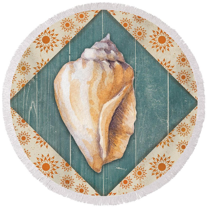 Beach Round Beach Towel featuring the painting Seashells-jp3620 by Jean Plout