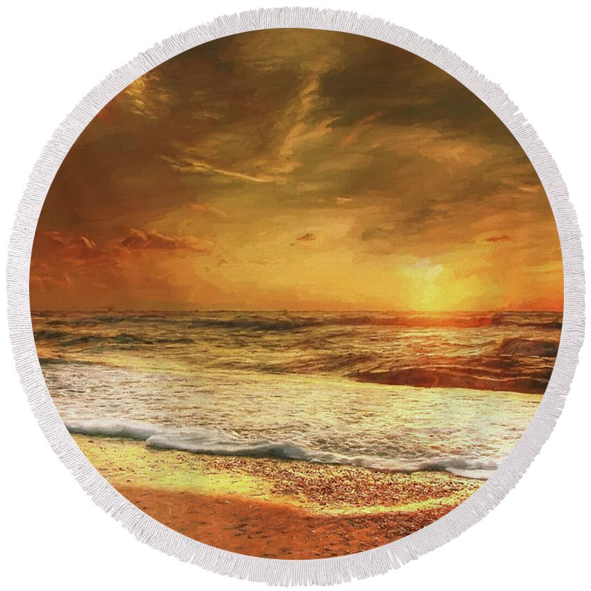 Beach Round Beach Towel featuring the digital art Seashore Sunset by Roy Pedersen