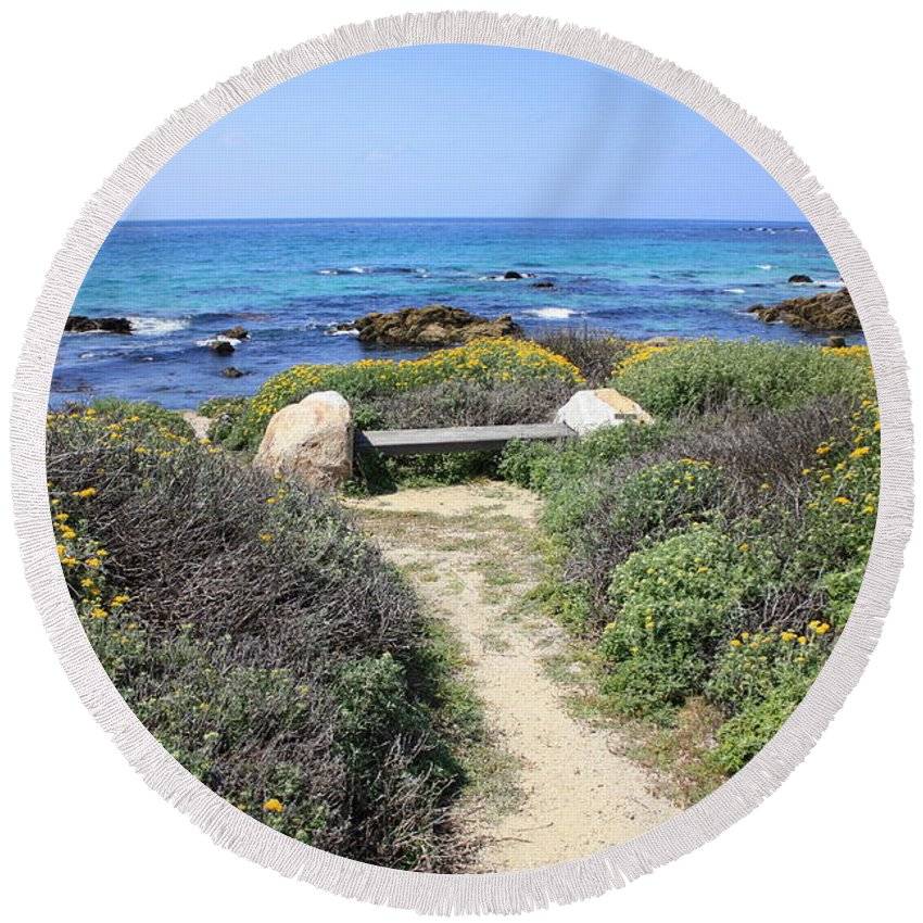 Landscape Round Beach Towel featuring the photograph Seaside Bench by Carol Groenen