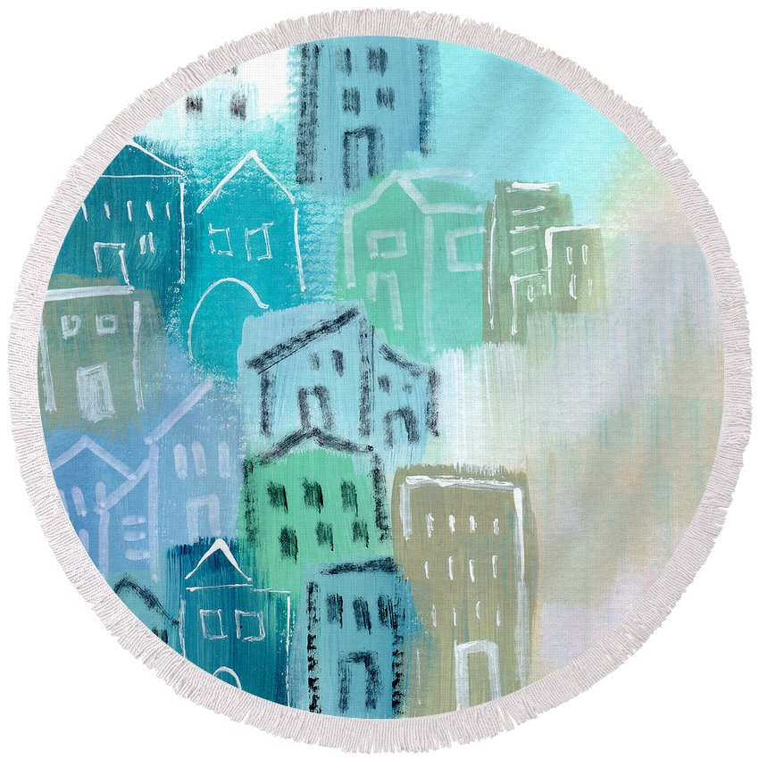Houses Round Beach Towel featuring the painting Seaside City- Art By Linda Woods by Linda Woods