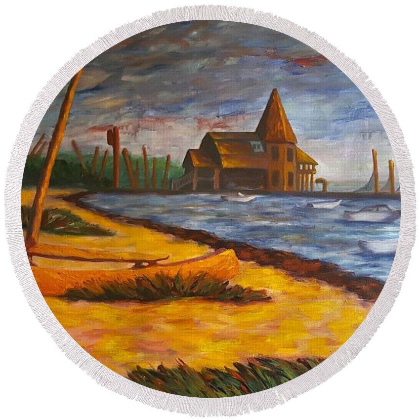 Marine Round Beach Towel featuring the painting Seaside Park Nj Yacht Club by Joann Renner