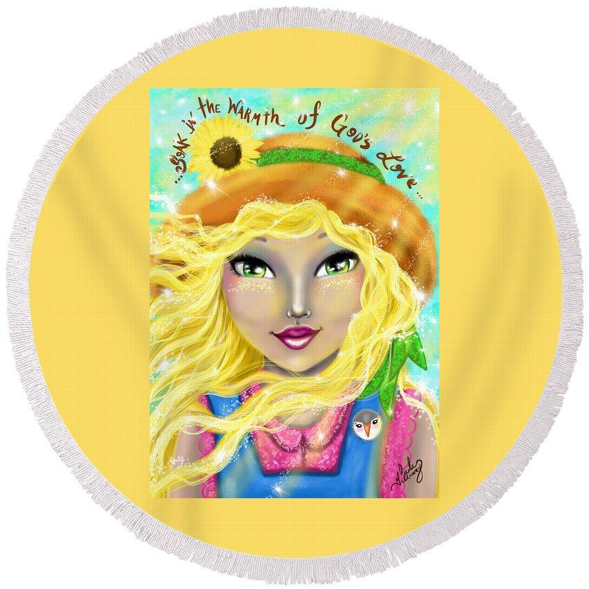 Summer Round Beach Towel featuring the digital art Seasons Of Wonder Summer by Paula Gallaway