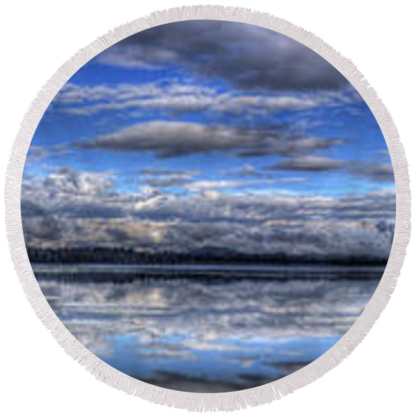 Landscape Round Beach Towel featuring the photograph Seasons Panorama by Lee Santa