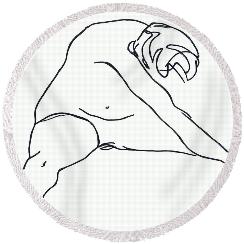 Figure Round Beach Towel featuring the drawing Seated Figure by Nancy Mueller