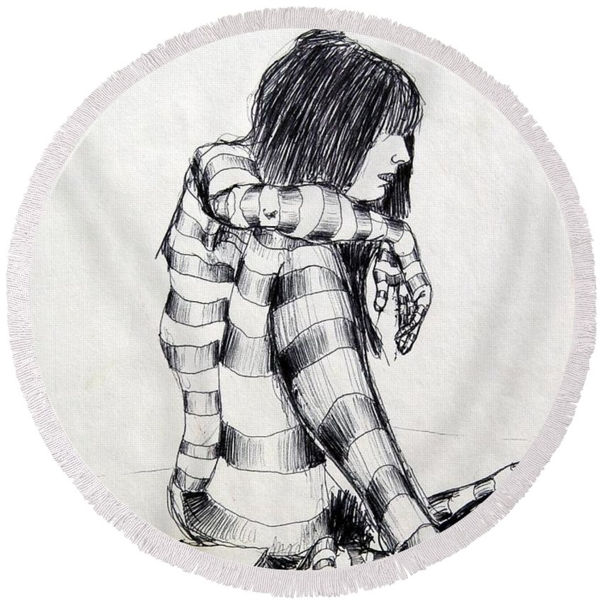 Ink Drawing Round Beach Towel featuring the drawing Seated Striped Nude by Ron Bissett