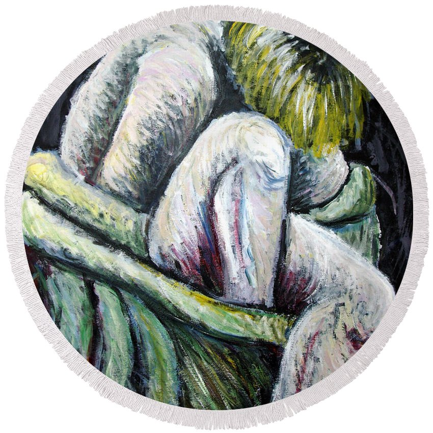 Woman Round Beach Towel featuring the painting Seated Woman Abstract by Nancy Mueller