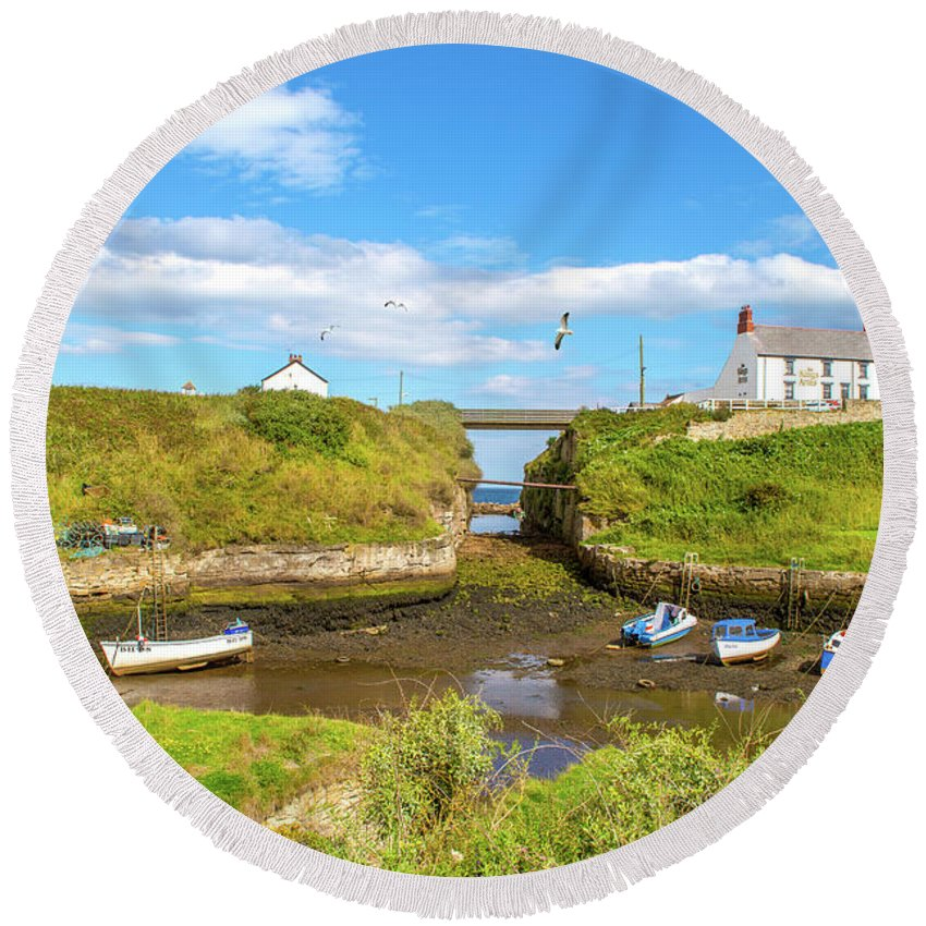 Boats Round Beach Towel featuring the photograph Seaton Sluice Harbour by Timeless Prints