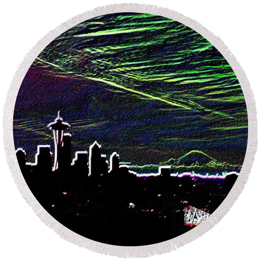 Seattle Round Beach Towel featuring the digital art Seattle And Da Mountain by Tim Allen