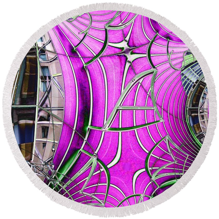 Seattle Round Beach Towel featuring the digital art Seattle Art Museum by Tim Allen