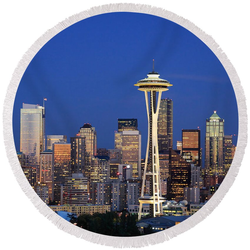 3scape Photos Round Beach Towel featuring the photograph Seattle At Dusk by Adam Romanowicz