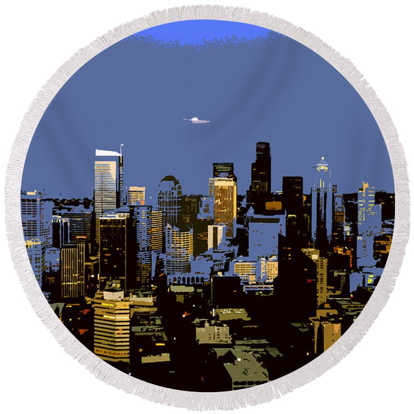 Seattle Washington Round Beach Towel featuring the painting Seattle City by David Lee Thompson