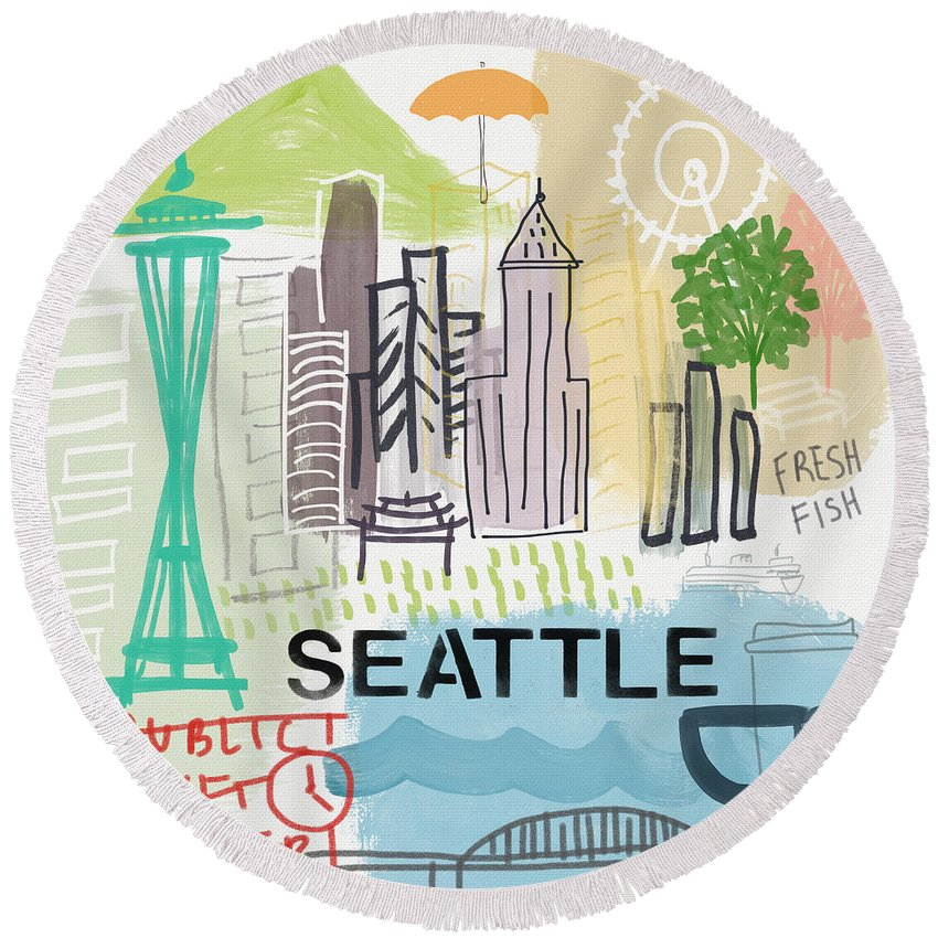 Seattle Round Beach Towel featuring the painting Seattle Cityscape- Art By Linda Woods by Linda Woods