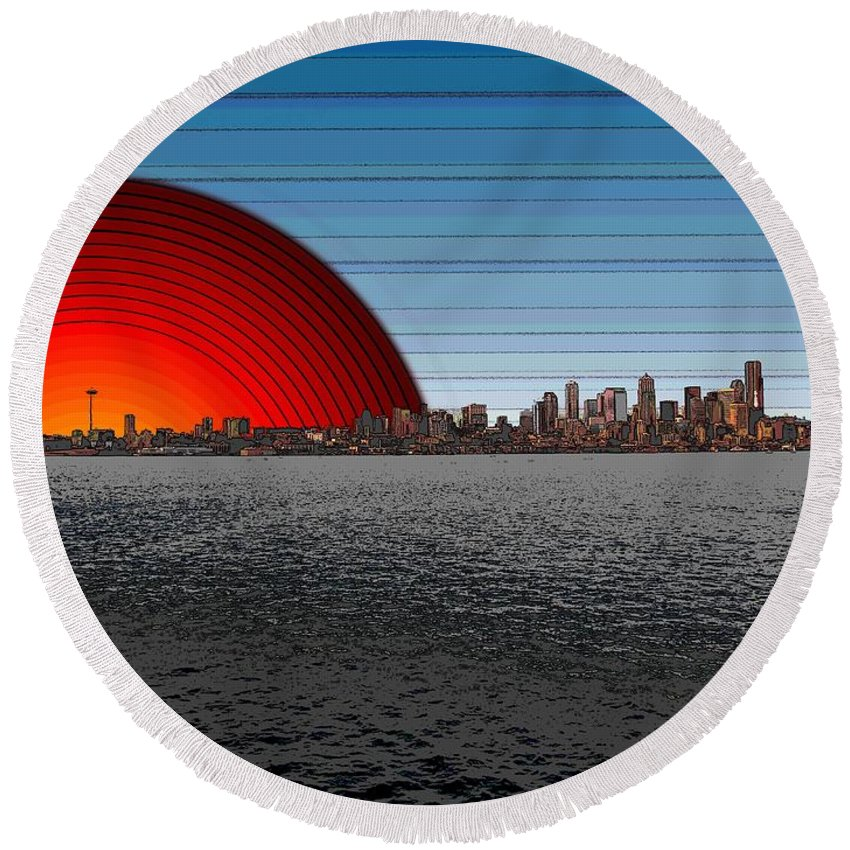 Seattle Round Beach Towel featuring the digital art Seattle Dawning 2 by Tim Allen